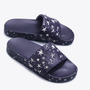 NWT-Tory Burch Star Leather Slide- Navy/Silver- 9